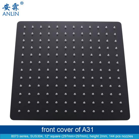 Black 12 Inch Luxury Stainless Steel Rainfall Shower Head