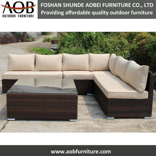 China Garden Furniture Outdoor Rattan Lounge Sofa L Shape Sectional