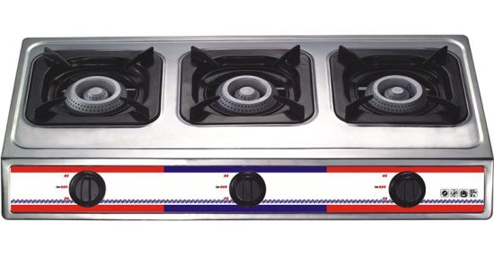 3 Burners Stainless Steel 710mm Length Iron Gloden Cap Gas Cooker (DS-GSS301)