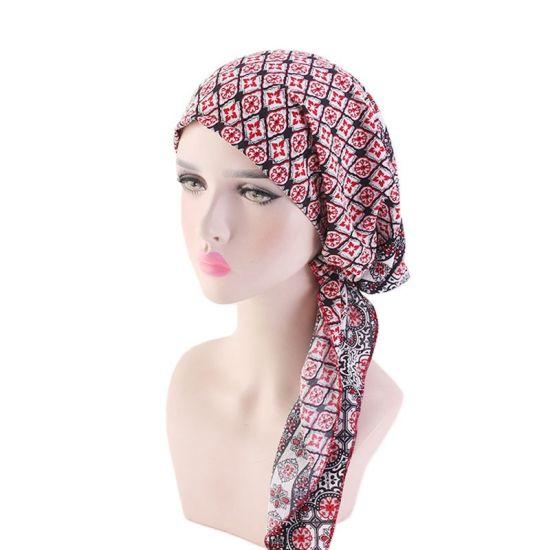 Folded Cotton Turban Cap Chemotherapy Cap Lady's Long Tail Cap