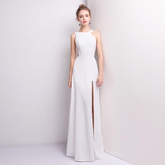 Fashion Women Evening Dress Clothing Factory White Formal Split Elegant Maxi Party Dress Ladies