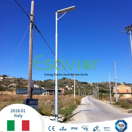 Integrated Solar Light All in One LED Street Light with 8 Years Life-Span LiFePO4 Batteries