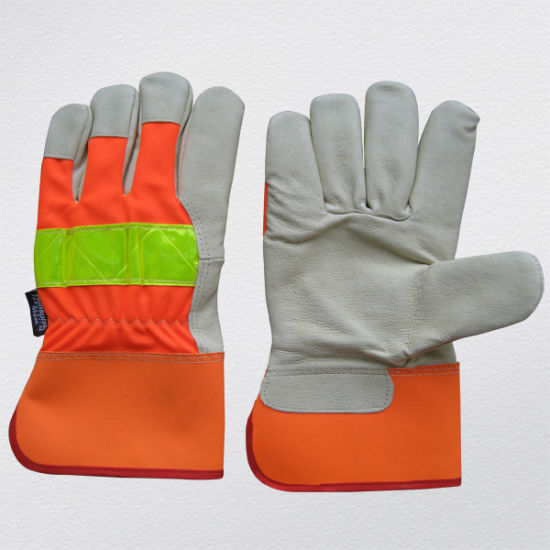 Hi-Vis Pig Grain Leather Thinsulate Lining Winter Anti-Cold Safety Work Glove