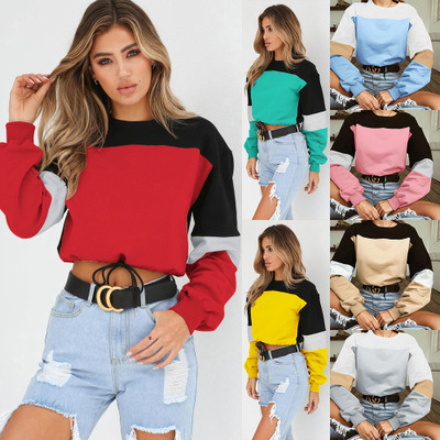 Women's Spring Casual Pullover Splicing Bandage Sweatshirt