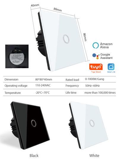 Smart Home Tuya Wall Touch WiFi Switch Remote Light Switch with Alexa Google