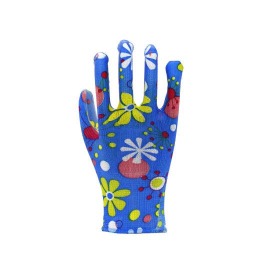 Flower Color Polyester Liner PU Coated Garden Work Gloves