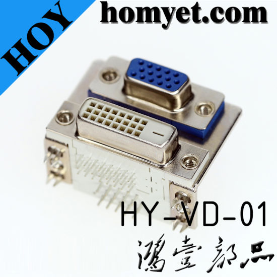 High Quality Two-in-One Right Angle PCB DVI D-SUB Connector pictures & photos