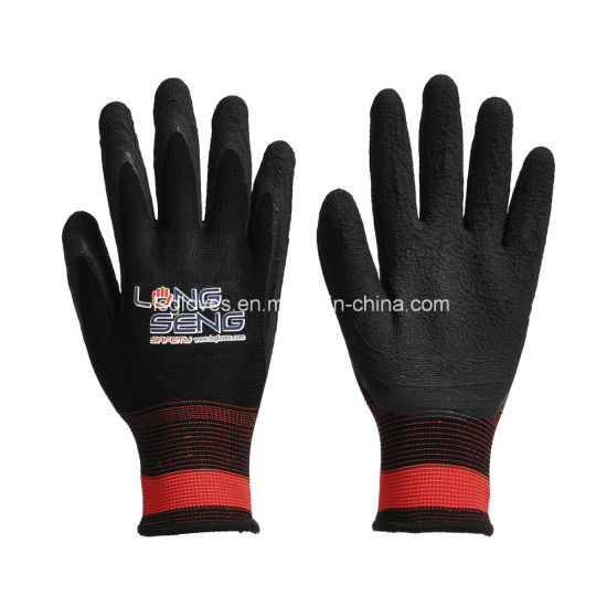 Black Latex Crinkle Palm Dipped 13 Gauge Nylon Lined Labor Protective Safety Working Hand Gloves
