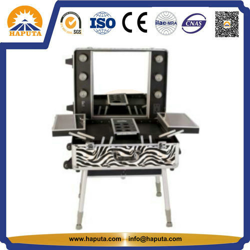 Rolling Makeup Cosmetic Train Case with Wheels (HB-3502) pictures & photos