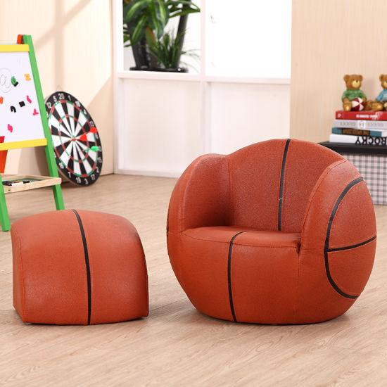 Basketball Kids Sport Furniture/Children Leather Sofa With Ottoman (SXBB 27)