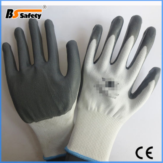 35gram Cheap Nitrile Coated Labor Work Safety Gloves with Logo Printing