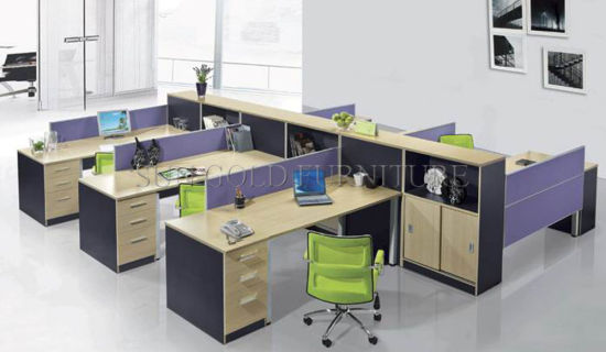 6 Seats Office Counter Table Design with Melamine Wooden Office Partition (SZ-WS66) pictures & photos