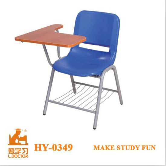 Metal Wooden School Chairs With Writing Board
