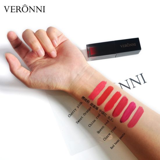 2018 Hot Sale Cosmetics Makeup Veronni 6 Colors Long-Lasting Velvet Matte Lip Gloss Beauty Matte Liquid Lipstick pictures & photos