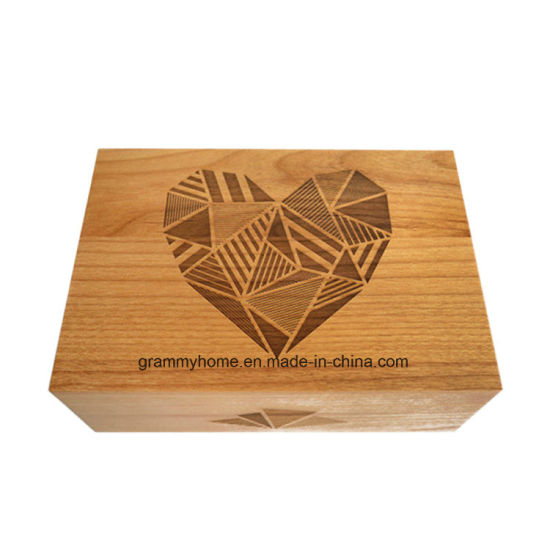 China Old Farm Wooden Gift Box With Laser Cavred Heart Shape Drawing Box China Wood Crate And Wooden Keepsake Box Price