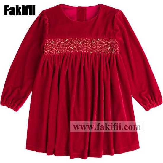 2019 Wholesale High Quality Children Apparel Kids/Baby/Infant Wear Girl Red Velvet Smocked Dress