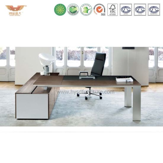 L Shaped Modern High Quality Wooden Table Top Aluminum Feet Executive Office Desk pictures & photos