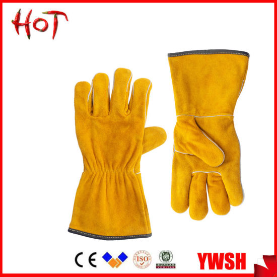 Yellow Cowhide Leather Hand Industry Welding Safety Labor Work Glove