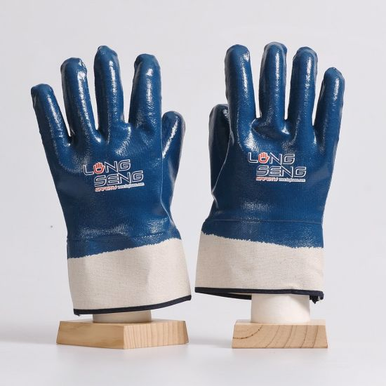 Factory!Oil Industry Cotton Jersey Interlock Liner Safety Rib Cuff Knitted Wrist Half Full Dipped Blue Yellow Smooth Nitrile Latex Rubber Coatd Heavy Duty Glove