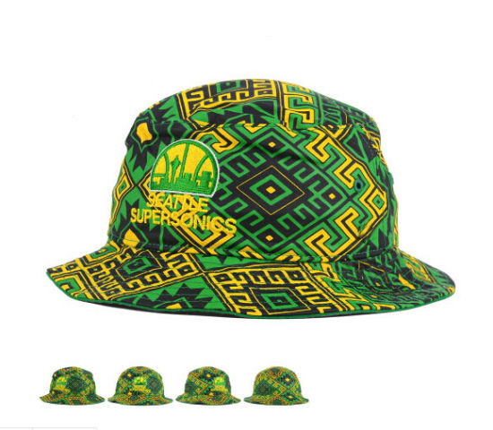 2a4df023c2b New Design Green Black Yellow Cotton Bucket Hat with Embroidery Logo  pictures   photos