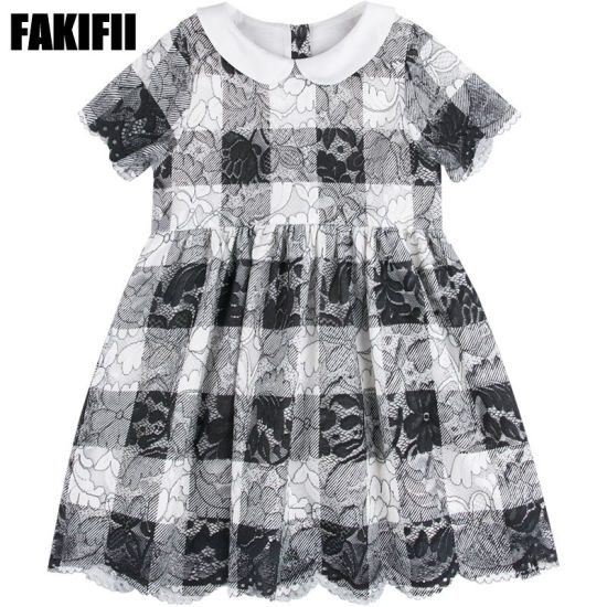 Summer/Spring Factory Customised Kids Wear Children Clothing Girl Check Lace Dress Brand Apparel