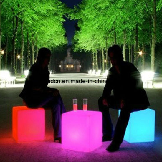 RGB Plastic LED Outdoor Wedding Lighting Cube Table and Chair for Sale