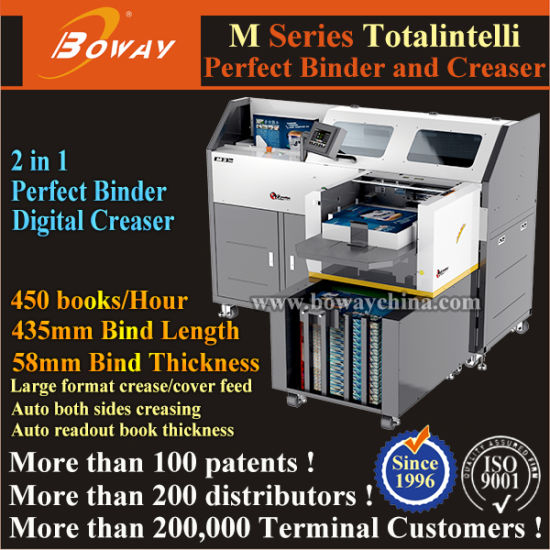 450 Books Per Hour Automatic Clamping Soft Cover Creasing and Hot Glue Perfect Bind pictures & photos