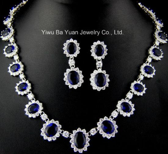 Classic Oval Bridal Jewelry Set, Sapphire Blue Wedding Cubic Zirconia Necklace Jewelry, Fashion CZ Jewelry, Fashion CZ Necklace, Bridal CZ Jewelry Set