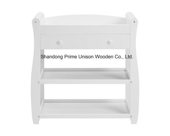 Wooden Baby Sleigh Changing Unit, Changing Table With Drawer With Pad