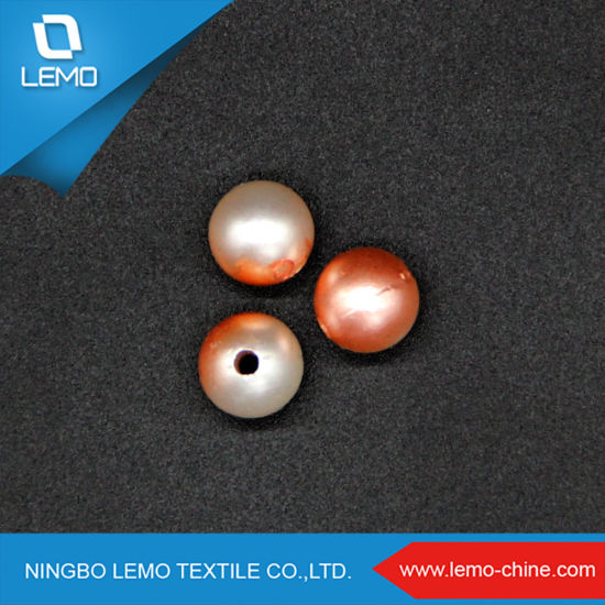Mixed Red and White Colors Dyeing Round 8mm Plastic Pearl Beads