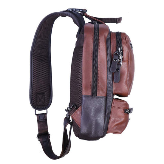 Waterproof Men PU Leather Waist Fanny Chest Packs Shoulder Bag Crossbody Hiking