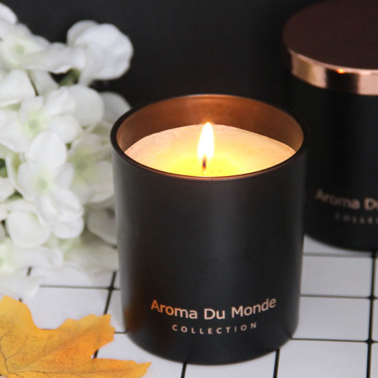 OEM/ODM Flameless Decoration Personalized Custom Black Glass Scented Candle with Rose Lids,Popular Fragrance Customized Luxurious Perfume Glass Jar Scented Cand