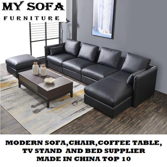 Leather Sofan Tea Table L Shape Sofa