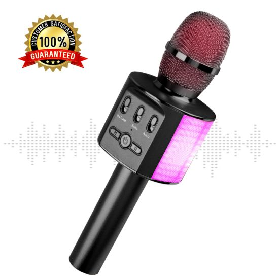 E202 Wireless Condenser Microphone Karaoke Miccrophone System Microphones with LED Lights
