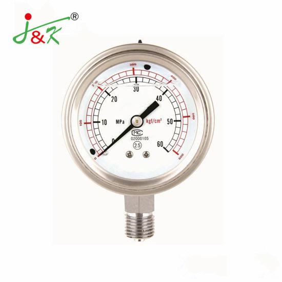 All Stainless Steel Gas Oil Fluid Pressure Manometer, Hydraulic Pressure Gauge, Bourdon Tube Analog Pressure Gauge