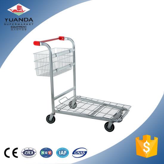 500kg Heavy Duty Metallic Warehouse Rolling Storage Cart Trolley