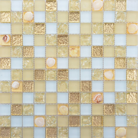 Good Quality Decoration Shell Patterns Living Room Wall Glass Mosaic