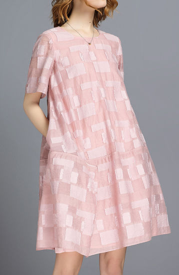 Summer Jacquard Pink Color Fashion Oversize Women Dress pictures & photos