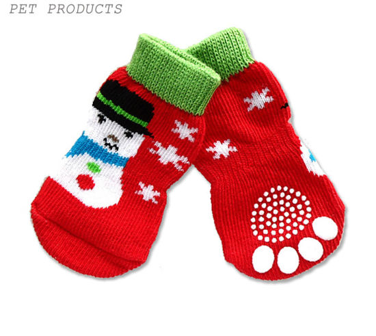 Pet Supply Christmas Stocking Snowman Catoon Tube Non Slip Dog Sock pictures & photos
