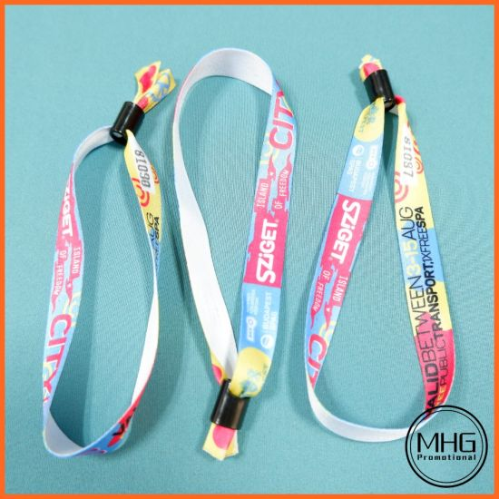 Cheap Custom Inspirational Locks Thick Festival Event Party Fabric Polyester Wristband No Minimum Order for Events