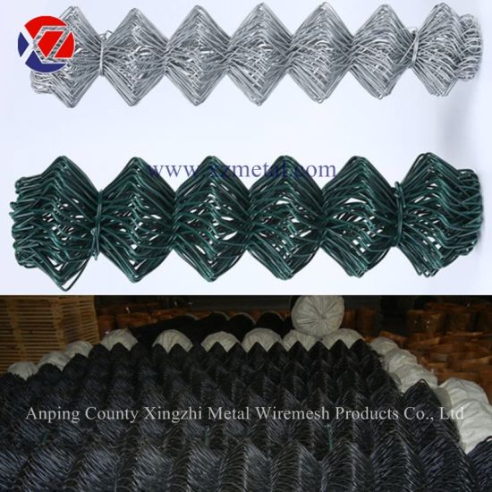 """6FT Galvanized/PVC Coated 2"""" Hole Diamond Chain Link Wire Mesh Fence (ISO factory)"""
