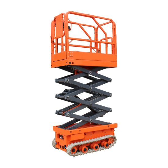 Full Automatic One Man Lift Platform Self-Propelled Small Scissor Lifter with Rubber Track Crawler
