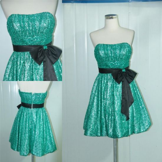 Sexy Strapless Green Sequins Mini Short Cocktail Dresses