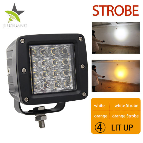 5000 Lumens Wholesale 2 Colors 6500K Strobe Burst Flashing 72W 3inch CREE Auto Square LED Work Light for Truck Offroad