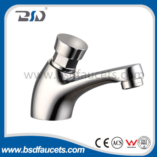 Chrome Brass Bathroom Self Closing Water Saving Delay Faucet Tap pictures & photos