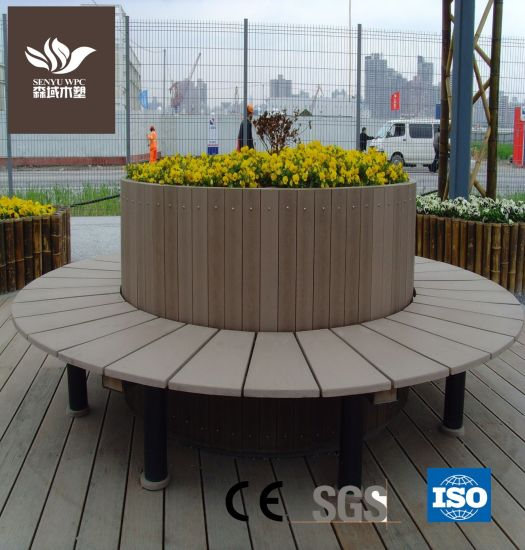 WPC Outdoor Flower Pot with Bench Garden Planter