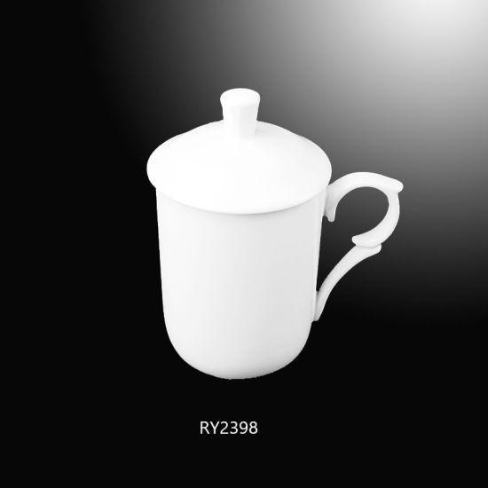 Porcelain Tea Mug with Unique Design Handle and Cover