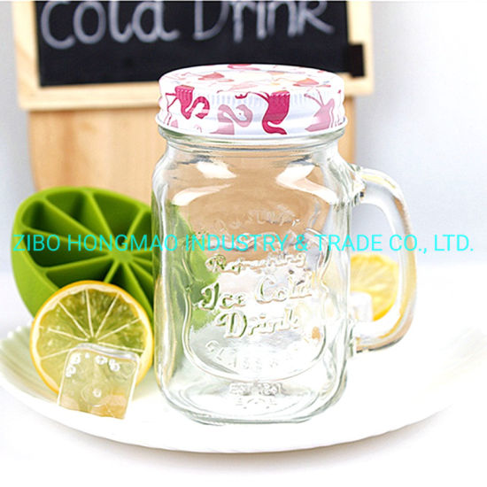 Hot Selling Wholesale Glass Mason Jar with Handle 16oz