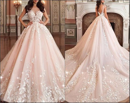 Blush Bridal Prom Ball Gown Pink Champagne Wedding Dresses M2780