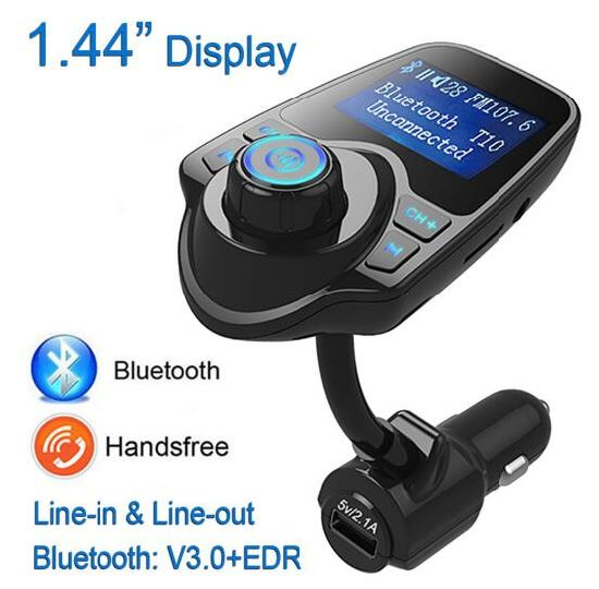 Bluetooth FM Transmitter/Ld Design Wireless in-Car FM Adapter Car Kit with Handsfree Music Play Safe USB Car Charge